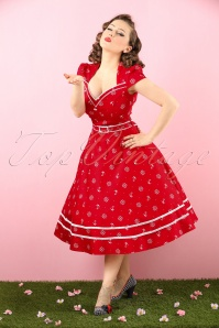 50s Gwyneth Sailor Swing Dress in Red