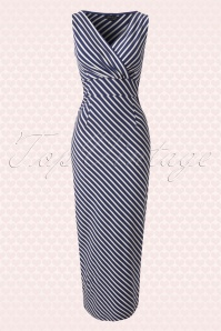 70s Breton Cross Over Maxi Dress in Stripe Nuit