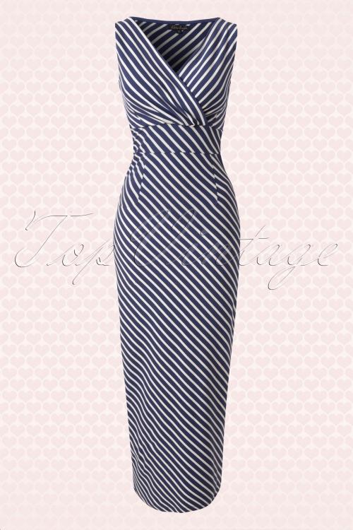 King Louie Cross over Breton Striped Navy Blue Dress 108 39 13877 20150213 0007W2