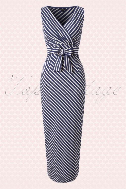 Maxi jurk bretonse streep