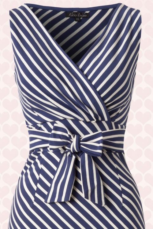 lange jurk blauw wit