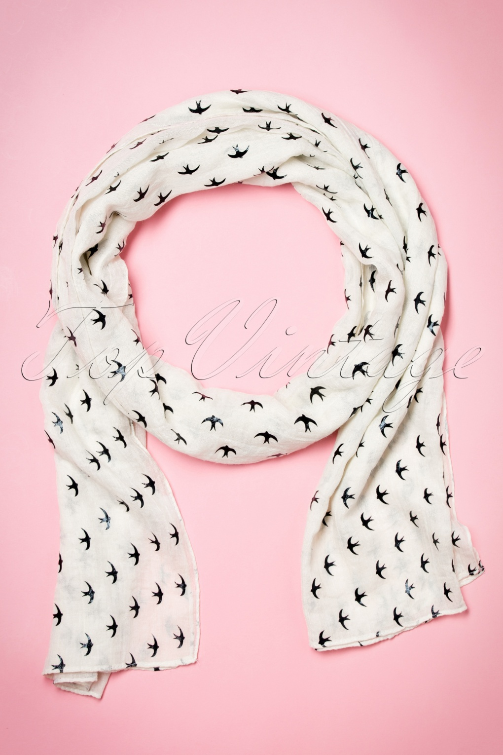 Vintage Scarves- New in the 1920s to 1960s Styles 60s Swallows All Over Me Scarf in Cream £8.44 AT vintagedancer.com