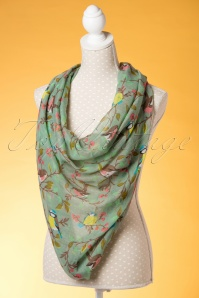 Kaytie Green birds scarf 240 49 18330 02292016 013W