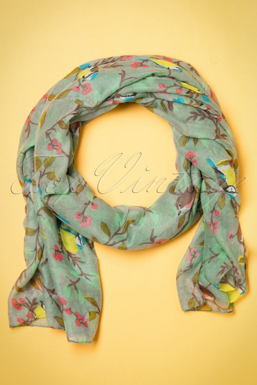 Kaytie Green birds scarf 240 49 18330 02292016 008W