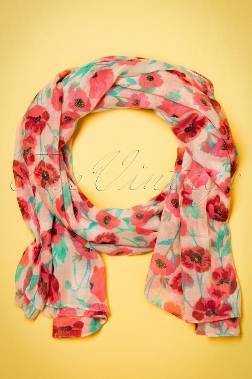 Kaytie Red and Green Poppy scarf 240 57 18332 02292016 004W