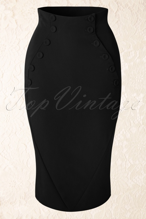 Miss Candyfloss Penny Lou Black Pencil Skirt 120 20 12872 20160301 0009W