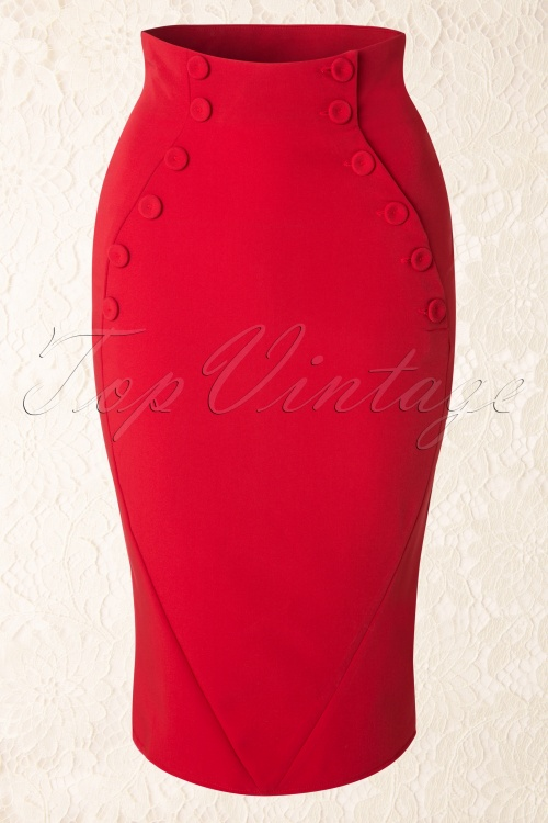 Miss Candyfloss Penny Lou Red Pencil Skirt 120 20 18147 20160301 0009W