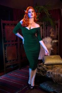 50s Laura Byrnes Monica Dress in Dark Green