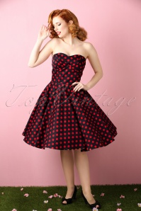 50s Melissa Polkadot Bandeau Swing Dress in Black and Red