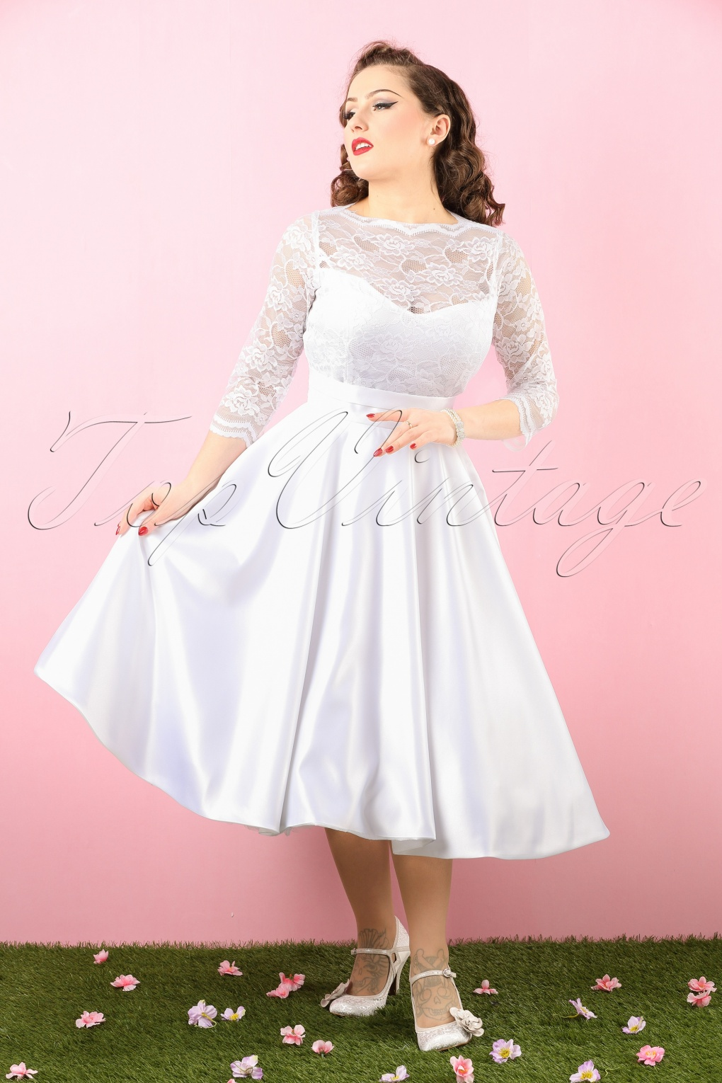 Vintage Inspired Wedding Dresses 50s Collette Lace Bridal Dress in White £195.41 AT vintagedancer.com