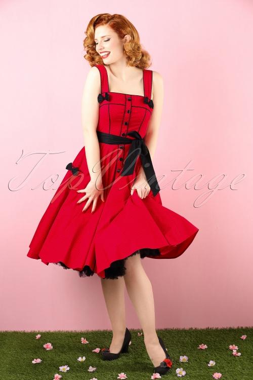 50s Martie Polkadot Swing Dress in Red
