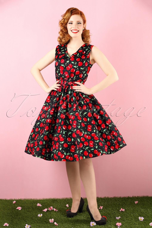 50s Petal Cherry Swing Dress In Black