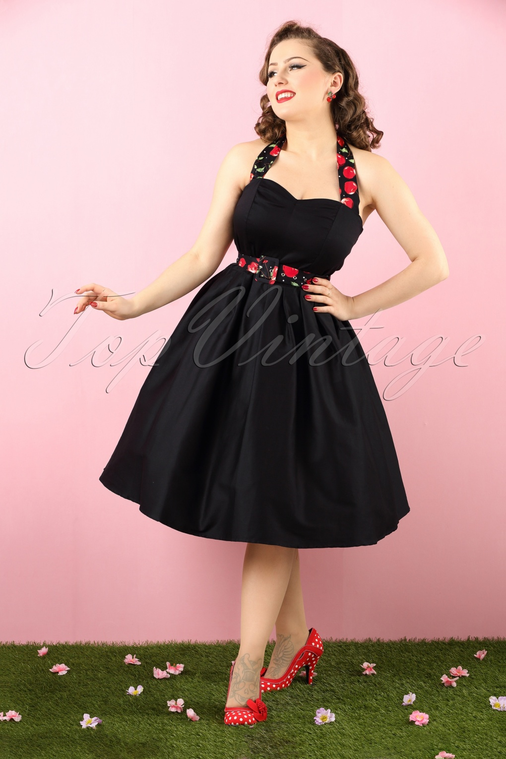 50s Sophie Halter Swing Dress in Black and Cherry