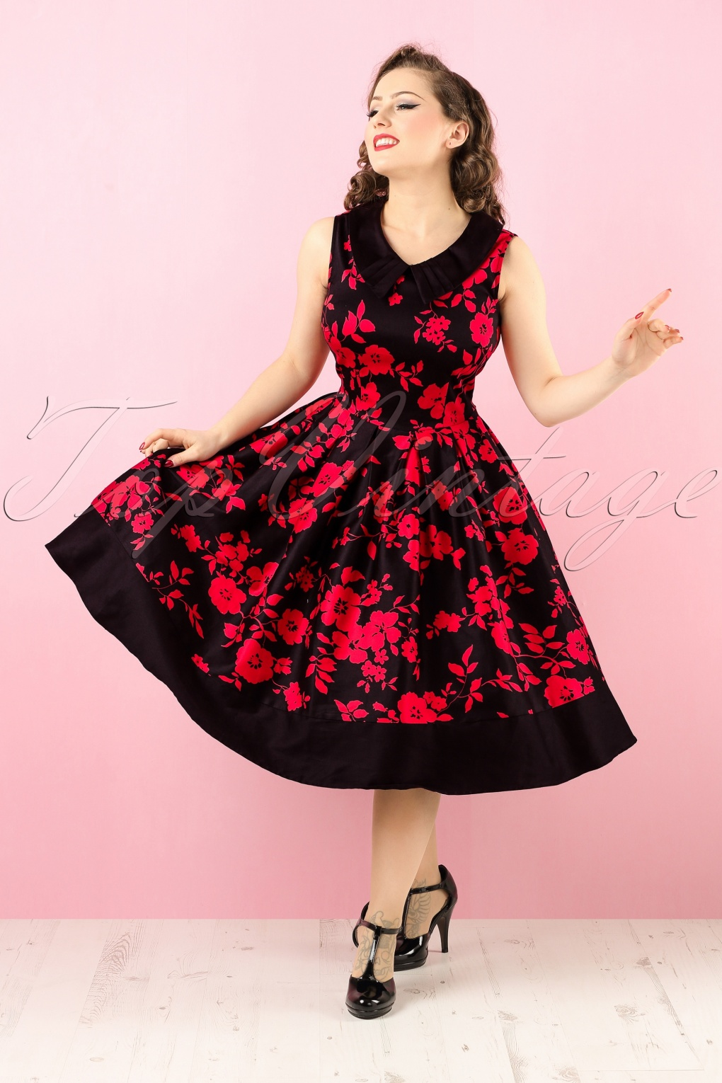 Red and Black Swing Dresses