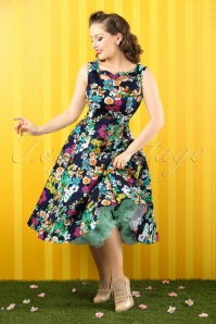 50s Alice Floral Swing Dress in Navy