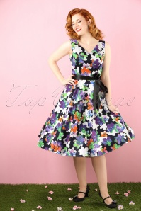 50s Edith Purple Flower Swing Dress in Black