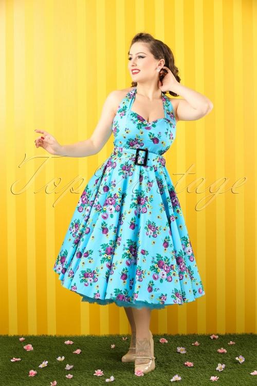 6e7ab558827a Vixen 50s Blue Retro Halter Floral Swing dress 102 39 10974 20150302 0001  bewerkt