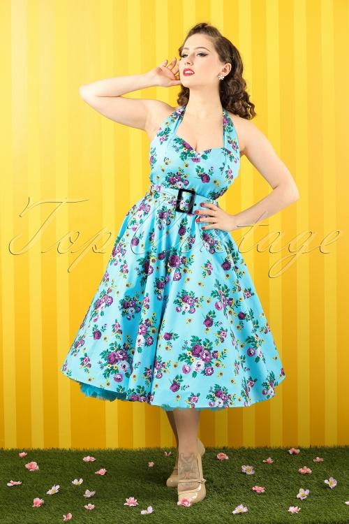 44fc06e78d53 Vixen 50s Blue Retro Halter Floral Swing dress 102 39 10974 20150302 0001(1)
