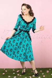Vixen 50s Jade Blue Cat Umbrella Dress 102 39 17962 20160215 0005 bewerkt colorcorr crop