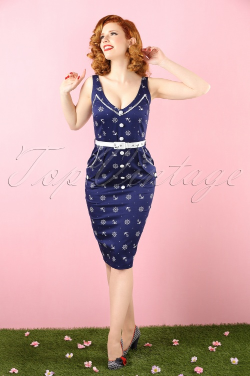 Vixen Blue Sailor Navy Blue Pencil Dress 100 39 15256 20150210 0005 bewerkt crop