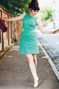 Mademoiselle yeye Mint Green Polkadot 60s Dress 106 49 17920 2