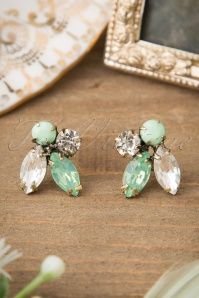 50s Sparkling Dewdrops Earrings in Mint