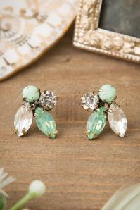 Sparkling Dewdrops Earrings Années 50 en Menthe