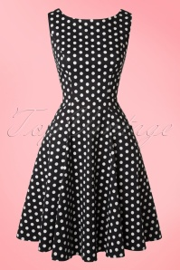 Collectif Cloting Hepburn Black and white Polkadot Dress 17673 20151119 0006W