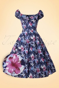 Collectif Cloting Dolores Maui Hibiscus Blue Swing Dress 17670 20151119 0004W1