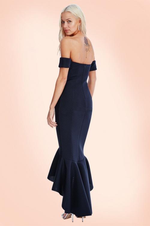 50s Bardot Fishtail Maxi Dress in Navy