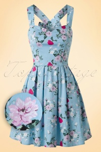 50s Belinda Floral Mini Dress in Blue
