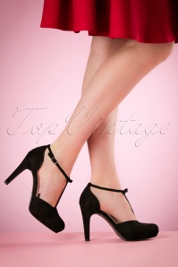 40s Vintage Bow T-Strap Pumps in Black