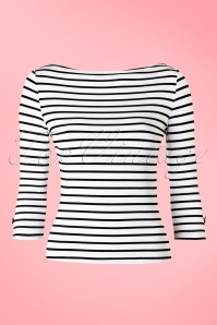 50s Modern Love Stripes Top in White and Black