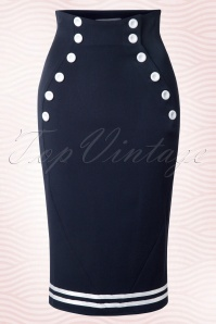 50s Petra Sailor Skirt in Navy and White