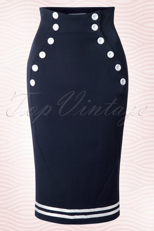 Miss Candyfloss Petra Sailor Skirt Navy 120 31 12873 20140422 0006W