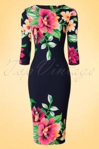 Vintage Chic Tropical Garden Floral Pencil Dress 100 39 18559 20160309 0004W