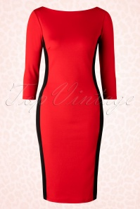 50s Mandy Pencil Dress in Red and Black