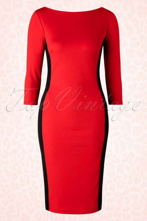 Celia Rose  Red Black Pencil Dress 100 20 18483 20160311 0008W