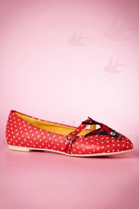 50s Mercy Swallow Polkadot Flats in Red