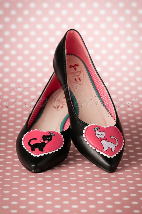 Dancing Days by Banned Hattie Pointy Black and White Cat flats 410 10 17763 03112016 009W