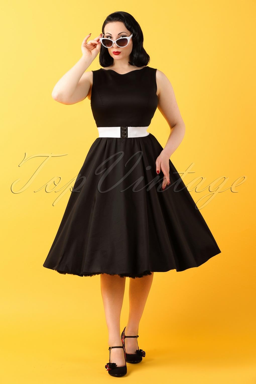 50s Hepburn Swing Dress In Black