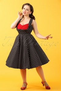 50s Grace Polkadots Swing Dress in Black