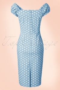 Collectif Clothing Dolores Vintage Polkadot Pencil Dress Blue 14739 20141214 0002W
