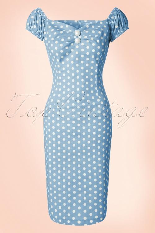 Collectif Clothing Dolores Vintage Polkadot Pencil Dress Blue 14739 20141214 0002 PolkadotW
