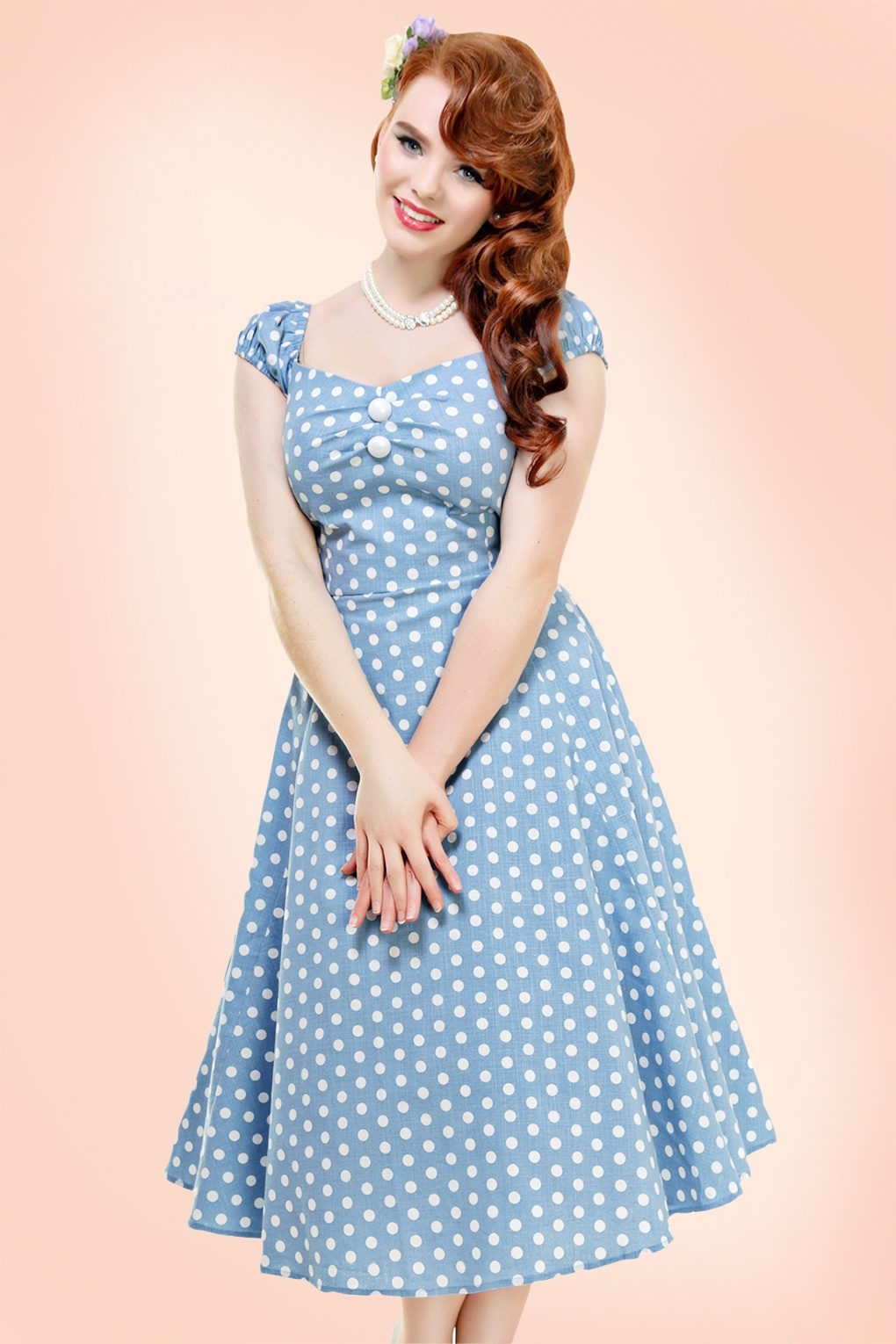 1950s Polka Dot Dresses 50s Dolores Polkadot Doll Swing Dress in Dusky Blue and White £60.09 AT vintagedancer.com