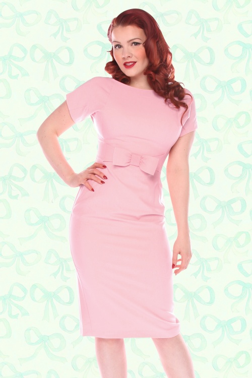 TopVintage Exclusive ~ 50s Talulah Pencil Dress in Soft Pink