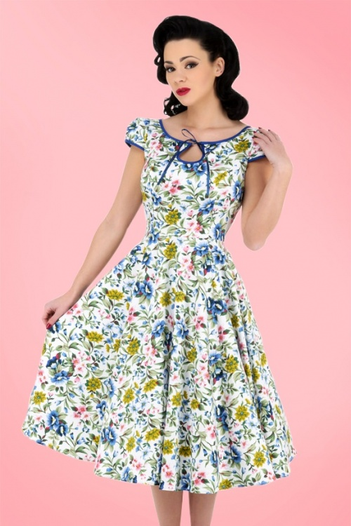 Hearts & Roses  White and Blue Floral Swing Dress 102 59 17142 03182016 1
