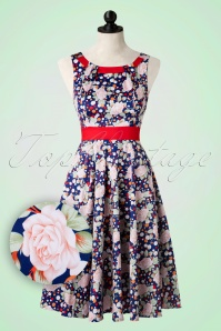 Hearts & Roses  Blue and Red Swing Dress Polkadots Roses 102 39 17144 03182016 012pop2