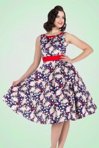 50s Connie Floral Swing Dress in Dark Blue