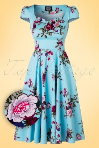 Hearts & Roses  Light Blue Floral Swing Dress 102 39 17134 03182016 005W1
